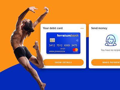 Mobile bank widget blue orange finance app virtualcreditcard widget mobilebank