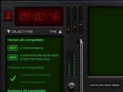 Control panel, game UI retro ui switch led timer game design skeuomorphism crt 80s retro gameui