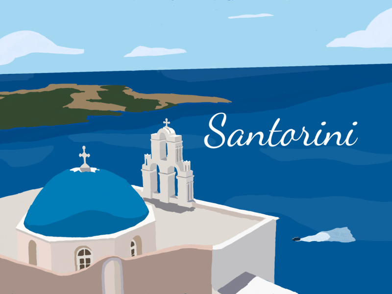 Santorini vintage poster travel poster flat illustration vintage ipadpro procreateapp greece poster illustration santorini retro