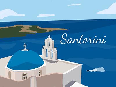 Santorini vintage poster travel poster flat illustration vintage ipadpro procreateapp greece poster illustration santorini retro