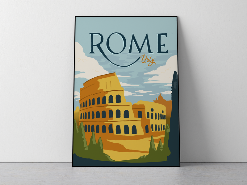 Rome - Italy travel poster procreate app illustration flat illustration poster retro vintage travel poster italy rome