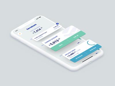 Ferratum Prime isometric illustration flat design app design app ui ferratum finance app