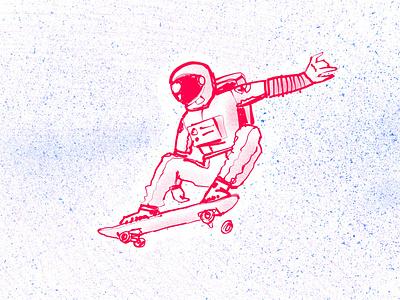 Outer flip digital ink ipad pro skate life skateboarding procreate app digital illustration illustration spaceman astronaut space digital art
