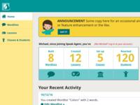 Home Dashboard for Teacher portal, Speak Agent