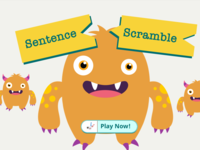 Sentence Scramble game welcome screen
