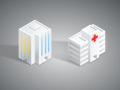 Isometric building build colorless 2.5d 3d isometric ui logo icon branding vector illustration design app