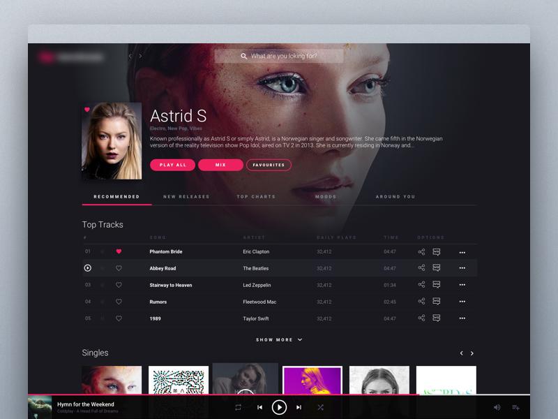 Online Music Streaming Service - Artist Page tidal streaming spotify service product playlist play online music design deezer charts