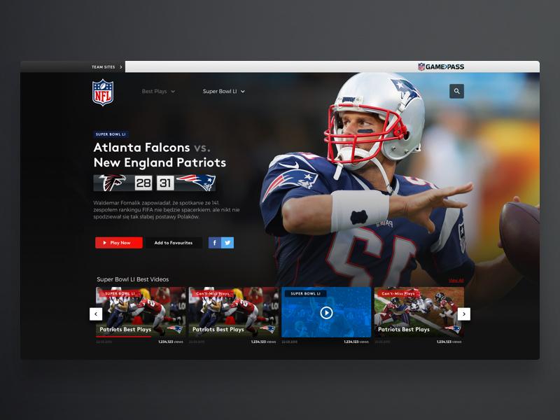NFL Video Player design sport netflix player web video football nfl super bowl