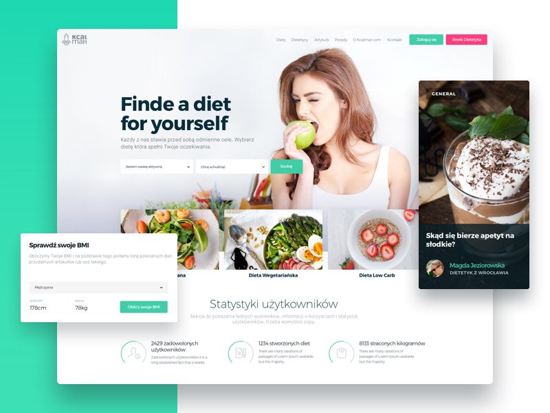 Kcalmar: Home Page responsive search healthy food tabs statistics web sport health lifestyle diet