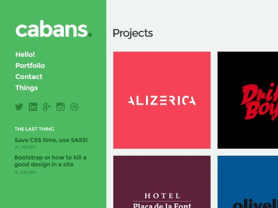WIP - Portfolio homepage homepage grid sidebar flat concept