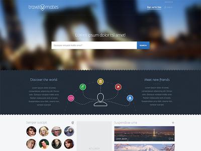Travelmates Landing WIP landing travel homepage home blur faces search
