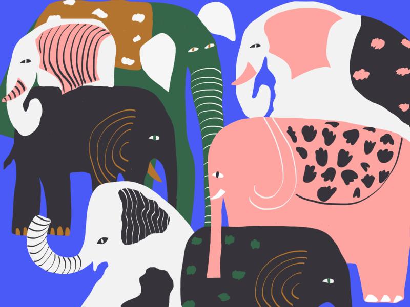 Elephants illustration line style line art elephant illustration style character color palette color colors animal art animals elephant elephants procreateapp illustration
