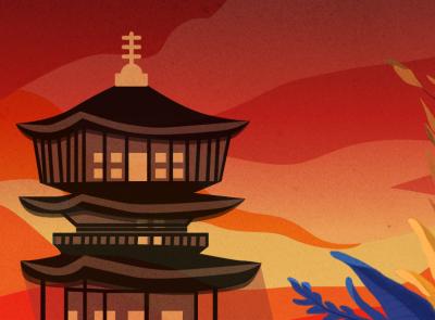 Temple at sunset art colors sketchapp procreate procreateapp textures illustration skyillustration flowers sky texture sunsetcolors color summer sunset temple