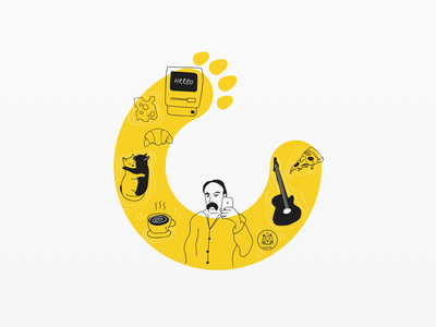 MacPaw logo illustration line elements illustrator line illustration line illustrations logo art logo design yellow logo yellow color illustrations macpaw linework line art cats logo artwork art illustration