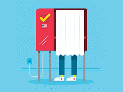 i3Logix – Ballot Tracking App Illustrations illustration vector voting voting booth