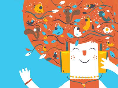 Live Happy - Find Happiness In Your Headphones tree illustration happy music birds
