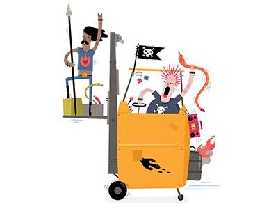 A Rebel Controlled Forklift of Doom rock and roll rebel forklift snake illustration