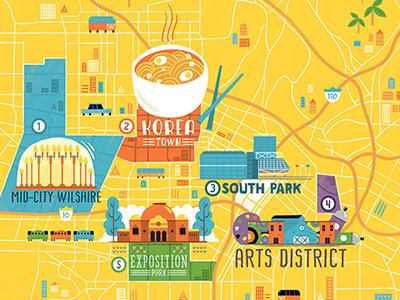 PCMA Convene – LA Convention Center Map city arts food los angeles illustration map