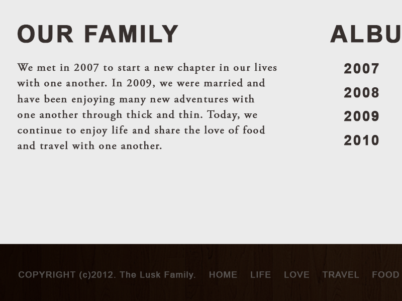 Lusk Family Blog blog web site family footer