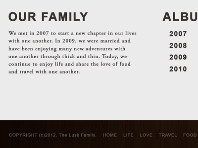Lusk Family Blog blog web site family footer