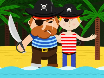 A love story vector design illustration 2d character pirate