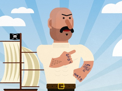 Captain Didier boat pirate captain animation design vector character 2d