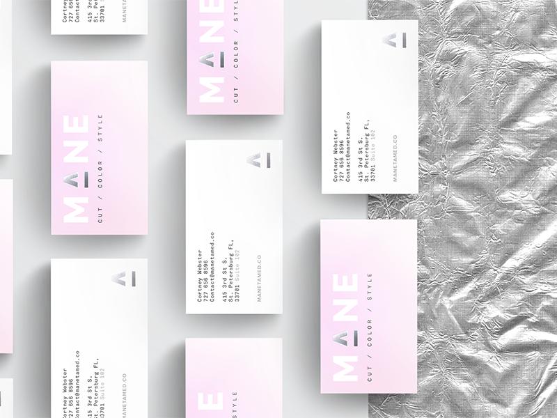 Mane Branding silver pink modern salon identity business cards minimal gradient foil branding