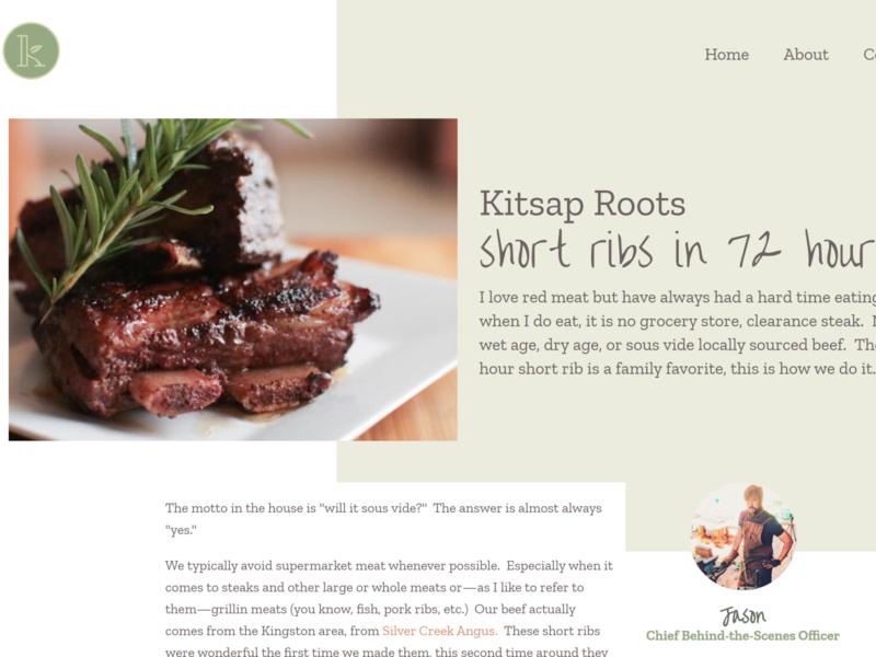 Kitsap Roots Recipe Page blog cms web design