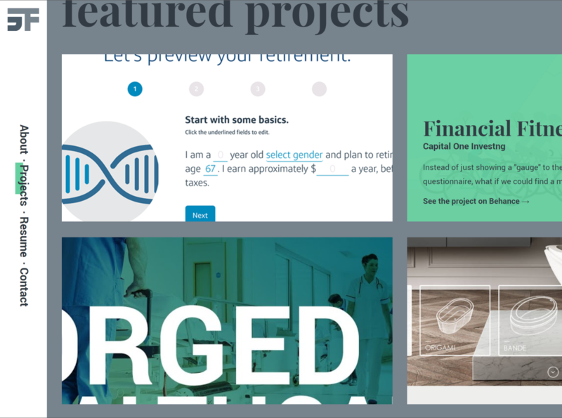 Featured Projects Section of my new website web design