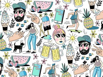 Summer Pattern  sun ice-cream beer design pattern summer