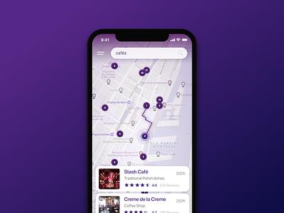 Old Port Cafés snazzymaps purple ux ui search ios app directions cafes wheretogo map mobileapp