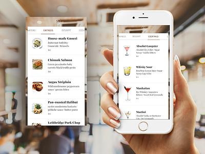 Food & Drinks Menu restaurant recipe list mobile menu food