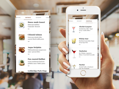 Food & Drinks Menu restaurant recipe list mobile menu food