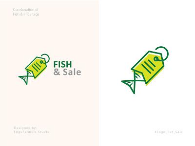 Fish & Price Tag Logo 2 logo design fish hunt logo fishing logo food logo food price logo fish tag fish token fish shop fish market logo fish sale logo price tag fish logo logo fish