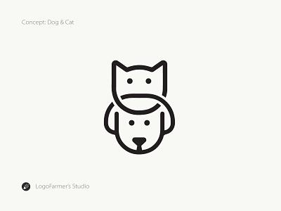 Dog & Cat pet animal animal logo icon vector design brandmark logo for sale logo design logo dog and cat pet cat logo cute pet pet logo dog and cat logo dog and cat dog