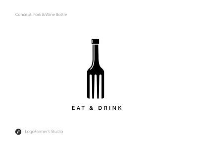 Eat & Drink icon vector illustration brandmark logo for sale logo design food and wine night club logo pub logo bar logo logo fork and wine bottle wine bottle fork eat and dring restaurant food logo