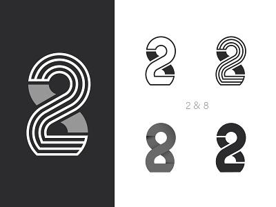 2&8 Logo creative number logo numbe logo graphic design branding vector illustration design brandmark logo for sale icon logo design logo number logo 28