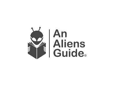 Aliens guide alien magazine aliens book alien knowledge logo smarti alien logo alien reader logo mark logo book guide aliens alien