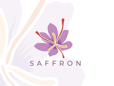Saffron Flower Logo natural logo colorful organic logo saffron flower saffron flower