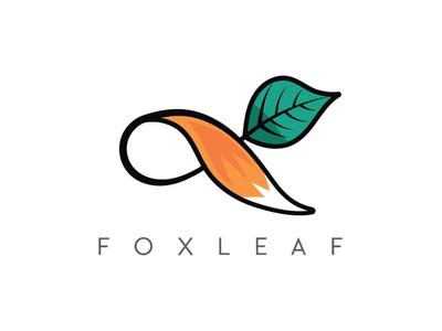 Fox Leaf fox infinity infinity fox tail logo fox logo fox tree fox and nature green fox fox tail logo design icon care logo leaf