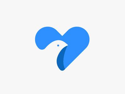 Bird & Heart logo design blue brand and identity icon logo heart bird