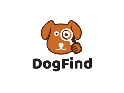 Dog Find Logo pet search logo design magnify glass dog search dog find pet dog