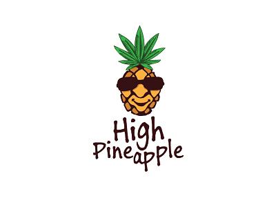 High Pineapple high pineapple funny pineapple ganja logo logo deisgn hemp weed sunglasses glass pineapple marijuana