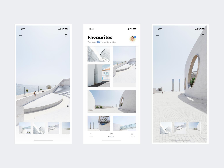 Concept App black and white ios picture books minimal ui ux