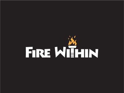 "Logo for ""Fire Within"" cardgame wordmark clean game board game cardgame ancient greece torch fire prometheus mythology greek gods greek mythology design logo"