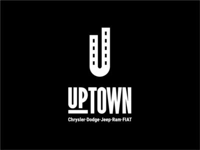 Uptown logo concept cityscape city skyline road birds eye view simple modern car dealership uptown initials clean mark branding design geometry logo