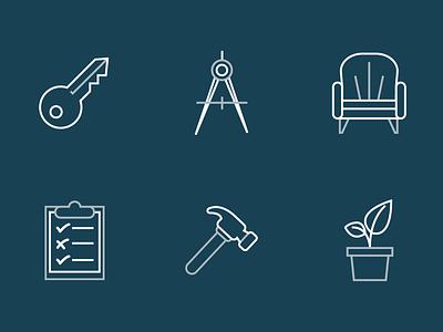 City Point Building Co. Icon Set 2 compas architect key survey landscaping interior design builder icons set icons