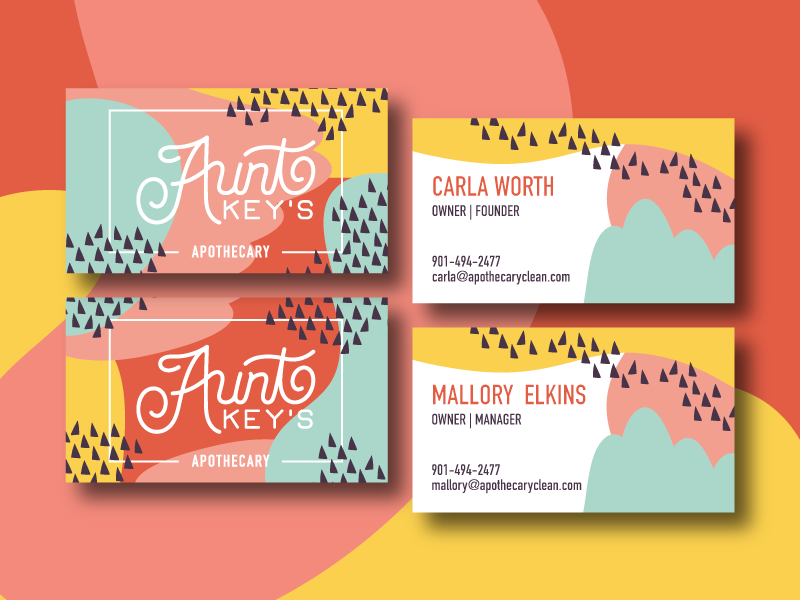 Aunt Key's Business Cards legend of shelda woman owned memphis shop local rebrand business card
