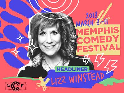 Lizz Winstead Announcement social graphic comedy advocate lady parts justice feminist lizz winstead memphis festival design