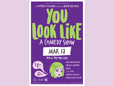 You Look Like a March Poster character illustration vector memphis comedy poster design